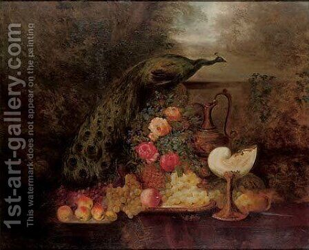 A peacock, roses, wildflowers, grapes, apples, peaches and a pineapple on a table by (after) William Duffield - Reproduction Oil Painting