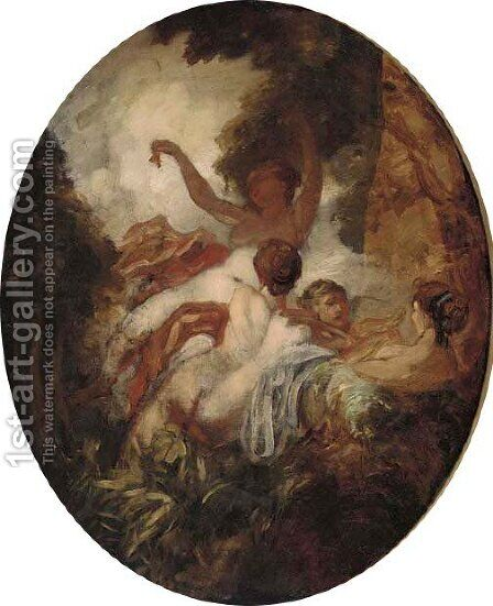 Nymphs in a wood, in a painted oval by (after) William Etty - Reproduction Oil Painting