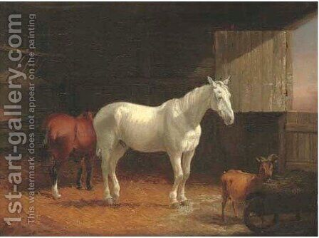 Horses and a goat in a stable by (after) William Joseph Shayer - Reproduction Oil Painting
