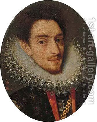Portrait of a gentleman, bust-length, in a black doublet with a lace ruff by (after)Frans, The Younger Pourbus - Reproduction Oil Painting