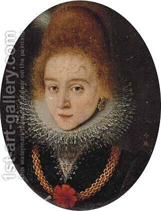 Portrait of a lady, bust-length, in a black dress with a lace ruff by (after)Frans, The Younger Pourbus - Reproduction Oil Painting