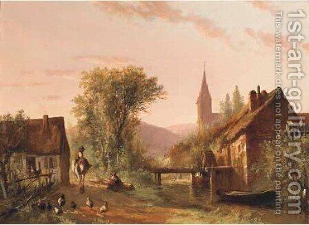 Dusk at the watermill in summer by Abraham Van Der Wayen Pieterszen - Reproduction Oil Painting