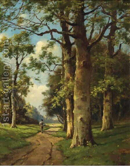 Seasons a forest path in summer by Adriaan Marinus Geyp - Reproduction Oil Painting