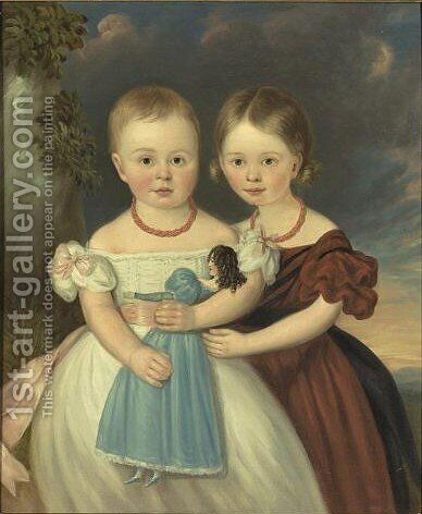 A Portrait Of Two Sisters With Doll And Coral Necklaces by American School - Reproduction Oil Painting