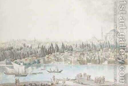 A view of the the Topkapi Palace and Hagia Sofia seen across the Golden Horn from Galata by Andre Gaspard Parfait (Comte De) Bizemont-Prunele - Reproduction Oil Painting