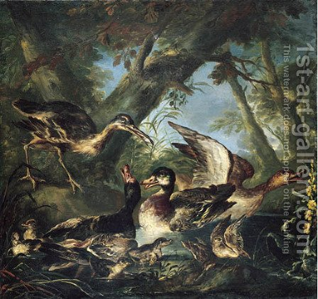 Ducks and a curlew in a pond in a wooded landscape by Angelo Maria Crivelli, Il Crivellone - Reproduction Oil Painting
