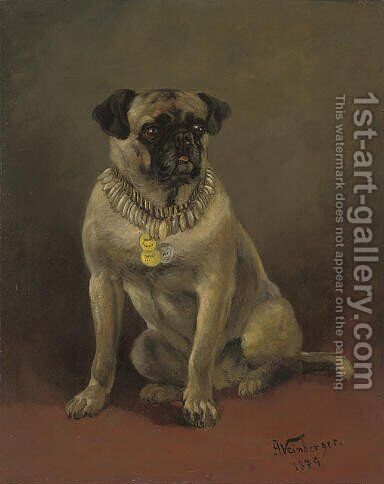 A well behaved pug by Anton Weinberger - Reproduction Oil Painting