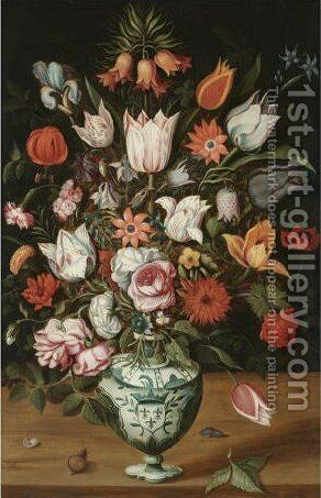 A Bouquet Of Tulips, Roses, Iris, Carnations, Anemones And Other Flowers In A Maiolica Armorial Vase With A Slug And A Snail On A Wooden Table by Antwerp School - Reproduction Oil Painting