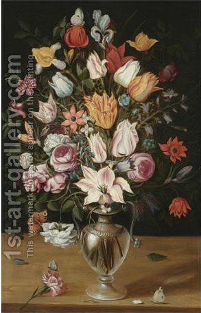 A Bouquet Of Tulips, Iris, Enemones, Hyacinth, A Lily, Violets And Other Flowers In A Glass Vase by Antwerp School - Reproduction Oil Painting