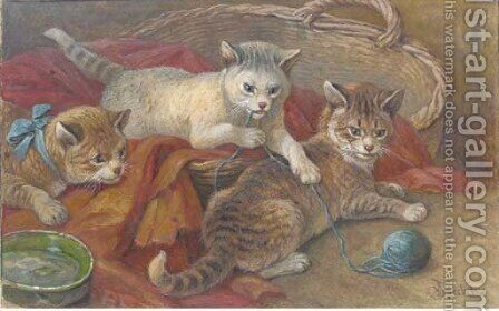Three kittens playing by August Friedrich Specht - Reproduction Oil Painting