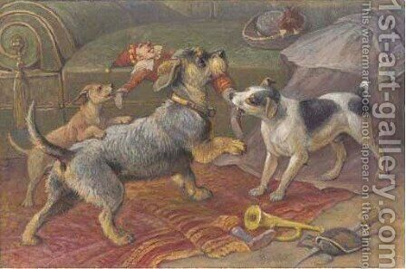 Terriers fighting for a doll by August Friedrich Specht - Reproduction Oil Painting