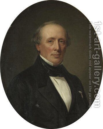 Portrait of F. Wichfeld (1800-1888) by August Heinrich Georg Schiott - Reproduction Oil Painting
