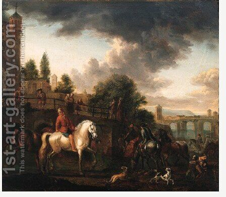 Travellers watering their horses at a river bank, onlookers on a bridge beyond by Barend Van Kalraet - Reproduction Oil Painting