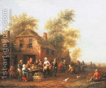 Peasants trading animals outside a farmhouse by Barent Gael - Reproduction Oil Painting