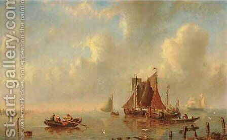 Shipping on a calm by Bartol Wilhelm - Reproduction Oil Painting