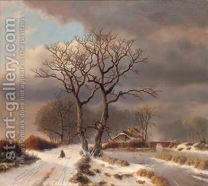 Returning home through the snow by C.H. Waardenburgh - Reproduction Oil Painting