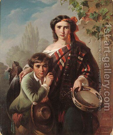 The young musicians by Carl Adolf Gugel - Reproduction Oil Painting