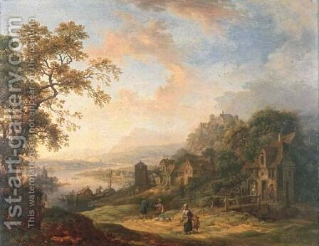A Rhenish landscape with figures on a track, a hil by Christian Georg Schuttz II - Reproduction Oil Painting