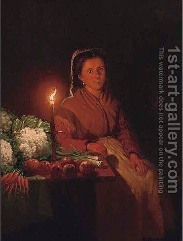 The seller by Cirle Of Petrus Van Schendel - Reproduction Oil Painting