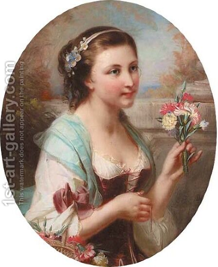 Portrait of a girl carrying carnations by Constant Joseph Brochart - Reproduction Oil Painting