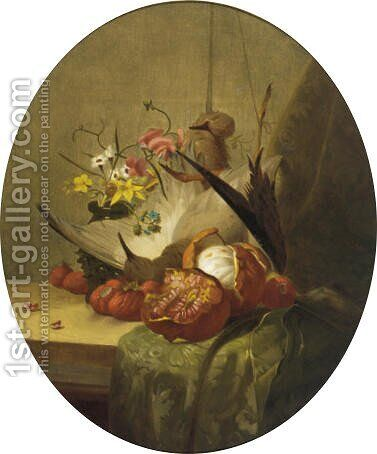 Strawberries, an orange, pomegranate, summer flowers and birds by Continental School - Reproduction Oil Painting
