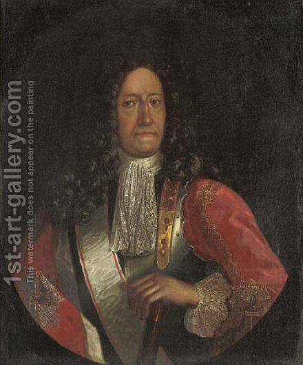Portrait of a gentleman, quarter-length, in armour by Danish School - Reproduction Oil Painting