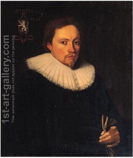 Portrait of Reinier van Heemskerck (1600-1639), treasurer and secretary of the city of Vianen by Dutch School - Reproduction Oil Painting