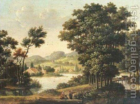 A wooded river landscape with a drover fording cattle over a bridge by Dutch School - Reproduction Oil Painting