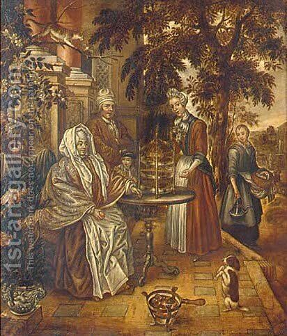 A family admiring a song bird on a terrace, an extensive landscape beyond by Dutch School - Reproduction Oil Painting
