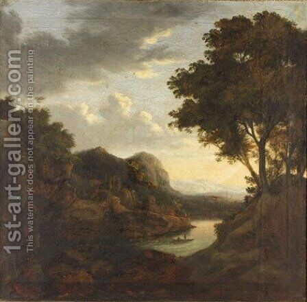 River Landscape With Figures In A Boat by Dutch School - Reproduction Oil Painting
