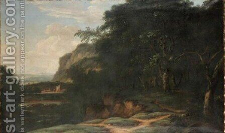 Extensive Italianate River Landscape With A Town In The Distance by Dutch School - Reproduction Oil Painting