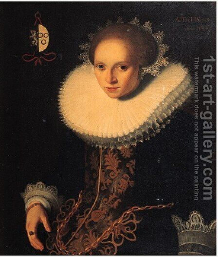 Portrait of Reinier van Heemskerck's wife by Dutch School - Reproduction Oil Painting