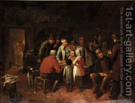 The Dice Match by Dutch School - Reproduction Oil Painting