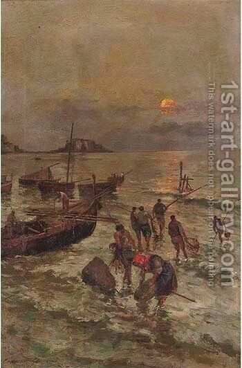 Fisherfolk on a Neapolitan quay by Giovanni Ciappi - Reproduction Oil Painting