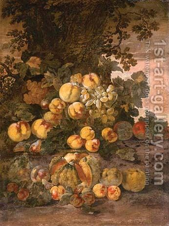 A melon, peaches, plums, quinces and grapes by a tree by Giovanni Paolo Castelli  (lo Spadino) - Reproduction Oil Painting
