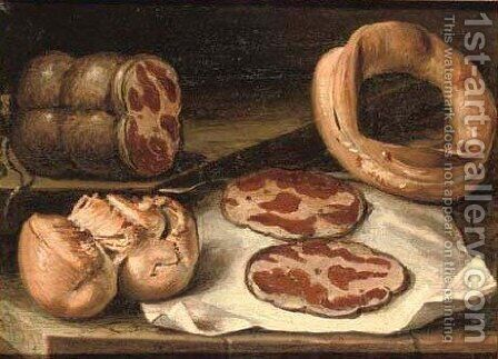 Coppa ham and bread on a stone ledge by Giuseppe Artioli Da Cento - Reproduction Oil Painting