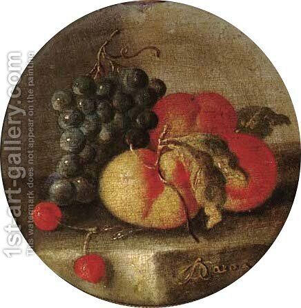 Grapes, cherries and peaches on a stone ledge by Giuseppe De Caro - Reproduction Oil Painting