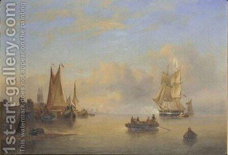 Fishing Boats And A Sailing Ship Off The Dutch Coast by Govert Van Emmerik - Reproduction Oil Painting