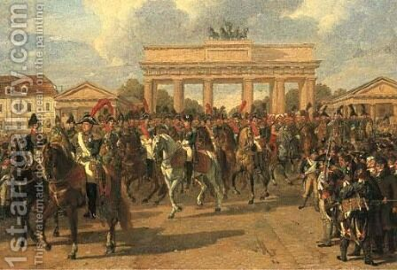 Napoleon Bonaparte, 1st Emperor of France, entering the city of Berlin at the Brandenberg Gate by Heinrich Anton Dahling - Reproduction Oil Painting