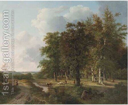 Wooded landscape with cattle resting by a brook by Hendrik Verpoeken - Reproduction Oil Painting