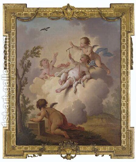 Putti playing with a teathered bird by Hendrik Willem Schweickhardt - Reproduction Oil Painting