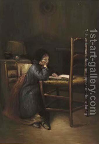 A young girl reading by Hungarian School - Reproduction Oil Painting