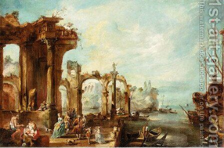 Mediterranean port scene with architectural capricci by Italian School - Reproduction Oil Painting
