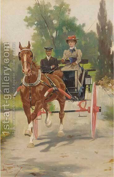 An afternoon ride by Italian School - Reproduction Oil Painting