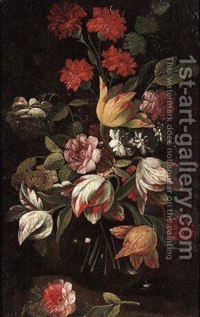 Still Life With Tulips, Carnations And Various Other Flowers 2 by Italian School - Reproduction Oil Painting