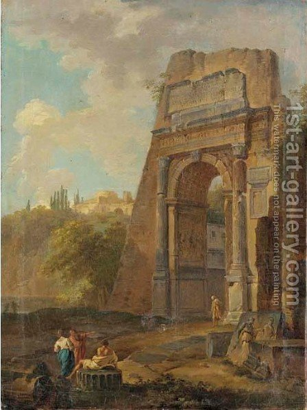 A capriccio of the Arch of Titus with figures conversing by Italian School - Reproduction Oil Painting