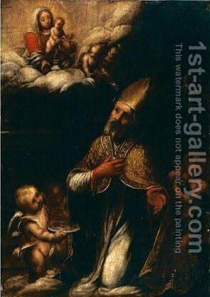 Santo Vescovo Martire by Italian School - Reproduction Oil Painting