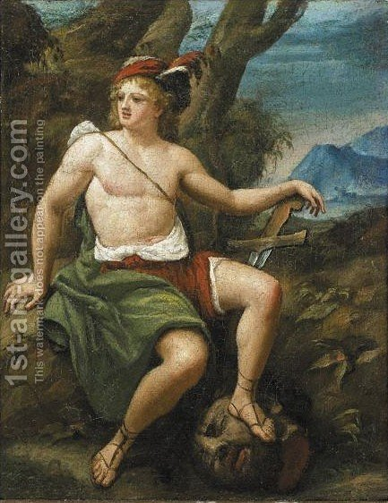 Davide Con La Testa Di Golia by Italian School - Reproduction Oil Painting