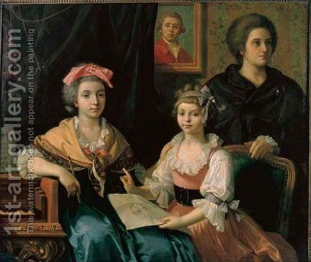 A family portrait in an interior by Italian School - Reproduction Oil Painting