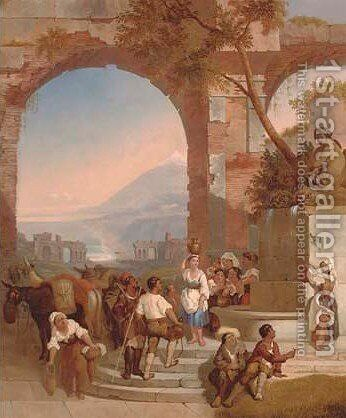 Peasants at Arcadian ruins 2 by Italian School - Reproduction Oil Painting